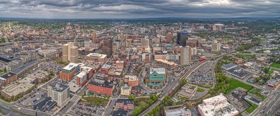 Aerial View of Syracuse, New York on a Cloudy Day Wall mural