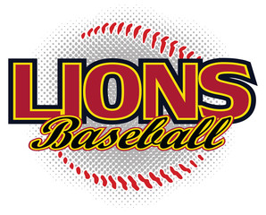 Lions Baseball Design is a lions mascot design template that includes team text and a stylized softball graphic in the background. Great for team or school t-shirts, promotions and advertising.
