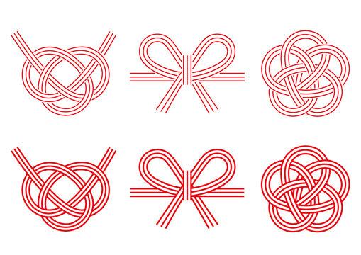 水引きデザイン三点セットのイラスト(拡張前の線画)