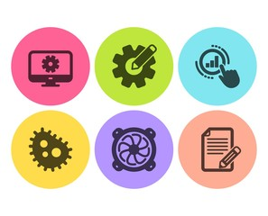 Cogwheel, Monitor settings and Computer fan icons simple set. Bacteria, Graph chart and Article signs. Edit settings, Service cogwheel. Science set. Flat cogwheel icon. Circle button. Vector