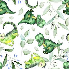 Hand-drawn watercolor children's animals seamless patterns with cute lion, giraffe, elephant, Rhino, monkey, Zebra, crocodile, iguana, wombat, Panda, Koala