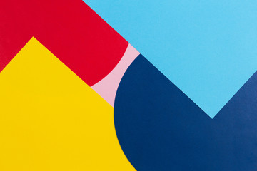 Texture background of fashion papers in memphis geometry style. Yellow, blue, light blue, red and...