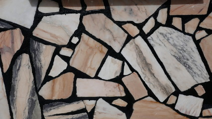Mosaic floor made of marble slabs Estremoz, Portugal