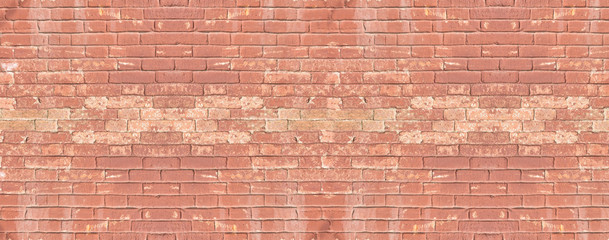 Fotobehang - Panoramic banner with red brick old wall background