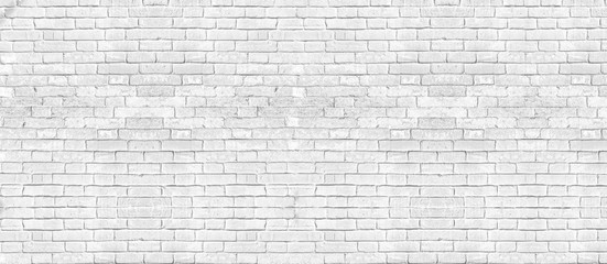 Fotobehang - White brick wall texture for background. panoramic banner