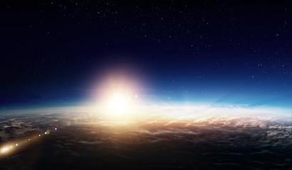 Sunrise on planet orbit, space beauty