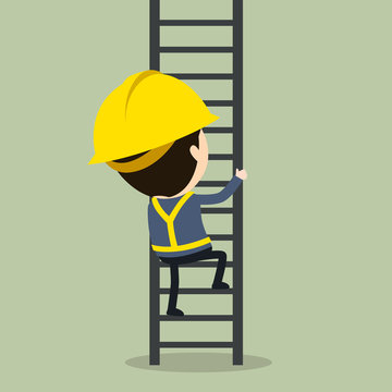 Climb up a ladder, Vector illustration, Safety and accident, Industrial safety cartoon