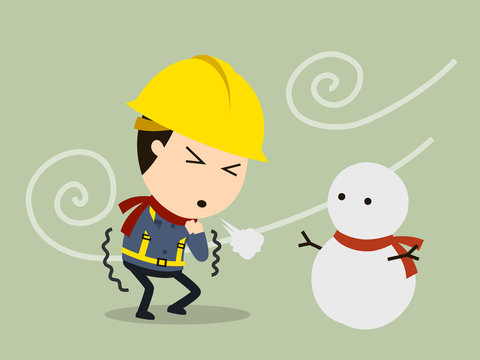 Shivering from cold, Vector illustration, Safety and accident, Industrial safety cartoon