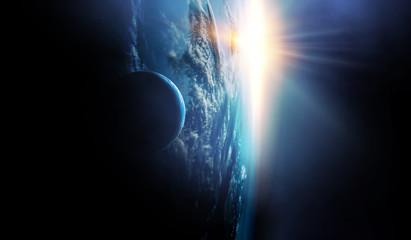 Space beauty on planet orbit. Fototapete