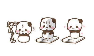 デブ活で太って焦るパンダ・ダイエットが成功し可愛くやせたパンダ・体重計にのるパンダちゃんイラスト素材