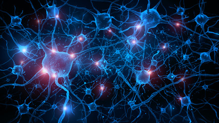 3d rendering of neuron cells with glowing in human brain