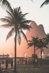 Foto auf Acrylglas Rio de Janeiro Beautiful sunset in Rio de Janeiro Leblon Dois Irmaos Mountain