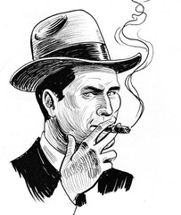 Ink black and white drawing of a man in hat smoking a cigar. Ink black and white drawing