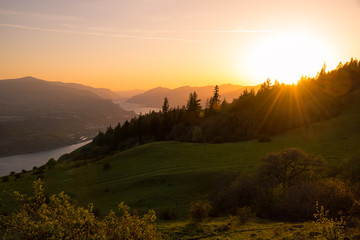 Summer sunset in the Pacific Northwest over the Columbia River Gorge