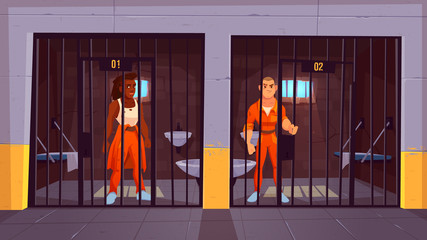 Prisoners in prison jail. People in orange jumpsuits in cell. Arrested convict male characters standing behind of metal bars. Life in jailhouse. Police, indoors interior. Cartoon vector illustration