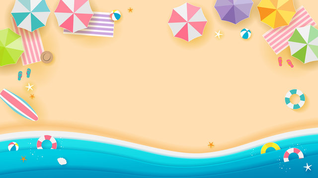 Summer beach Background vector illustration, Top view of beach. Paper art style.