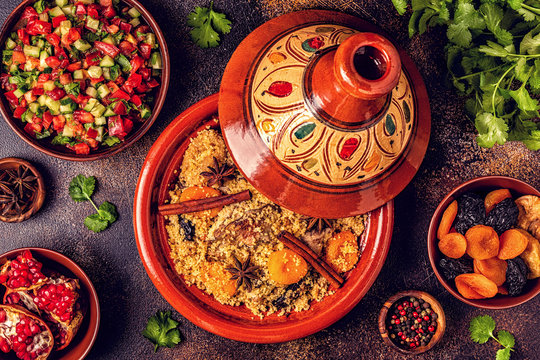 Traditional moroccan tajine of chicken with dried fruits and spices.