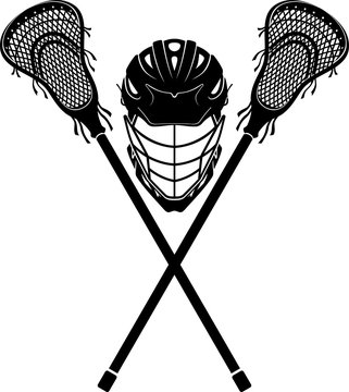 Lacrosse Gear, Sports Helmet and Crossed Lacrosse Sticks