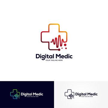 digital medic logo designs template, healthcare logo designs