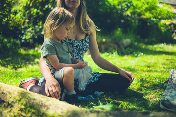 Mother and toddler sitting on grass in park