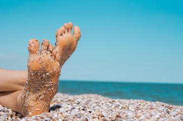 Female Legs Sandy Beach Relaxing Enjoying Summer Holidays Copy Space