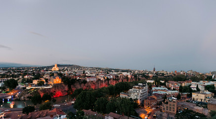 Panoramic view of Tbilisi city. old town and modern architecture