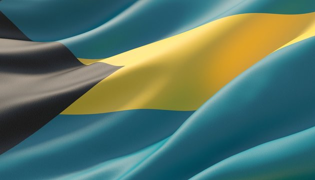 Waved highly detailed close-up flag of Bahamas. 3D illustration.