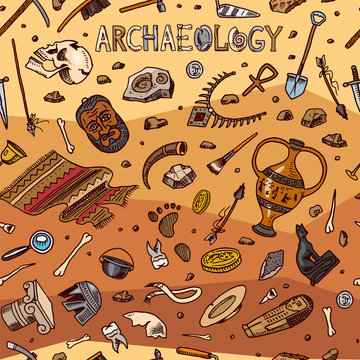 Archeology seamless pattern. Tools and science equipment, artifacts in vintage style. Excavated fossils and ancient bones on an orange background. Hand drawn Doodle sketch.