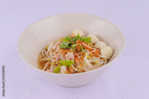 Spicy tom yum noodles with pork, thai noodles, Tom yum pork