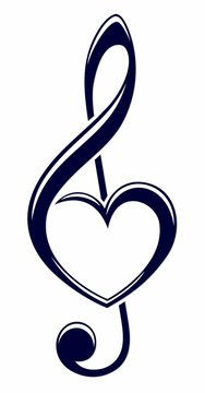 A symbol of a treble clef with heart.