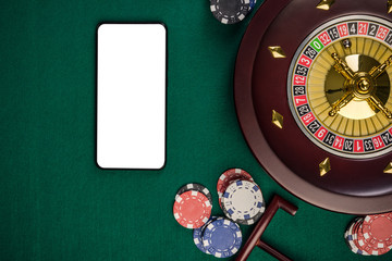 Mobile Phone White Screen Mock Up on Green Casino Table