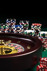 Roulette with Casino Chips Stacks, Gambling or Casino Background