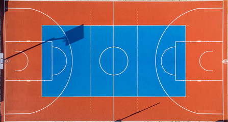 Colorful Basketball Outdoor Court, Aerial View