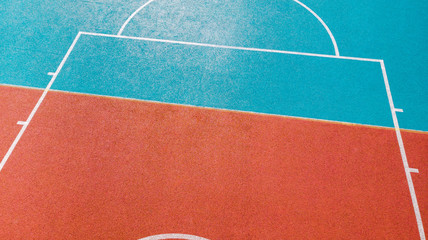 Creative view over basketball outdoor court