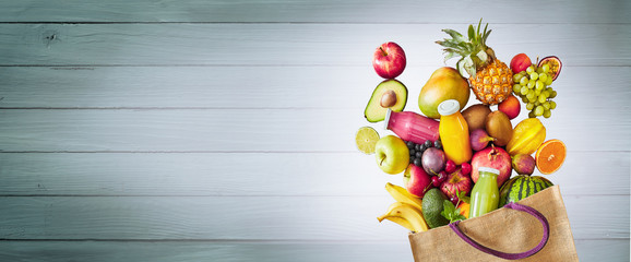 Colorful assortment of healthy fresh summer fruit