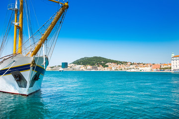 Split, Croatia, waterfront and ships in the harbour, Adriatic coast, seascape Wall mural