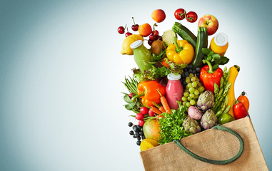 Healthy foods including vegetables and fruits