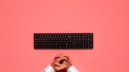 Top view of black computer keyboard