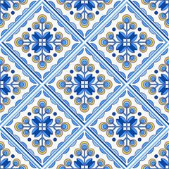 Traditional Portugal Lisbon azulejo ceramic tiles pattern.