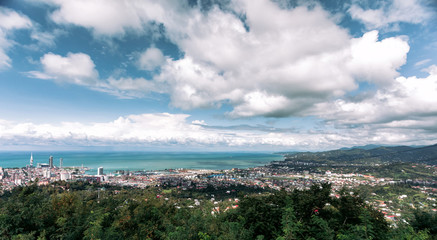 Panoramic view of the city of Batumi in sunny day