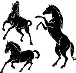 Horse Silhouette Set of Three