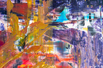 Aluminium Prints modern abstract background with many colors brush art blurred.