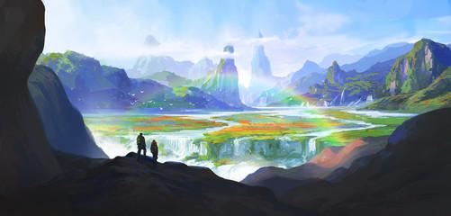 Natural wonders, paradise, digital painting, illustration.