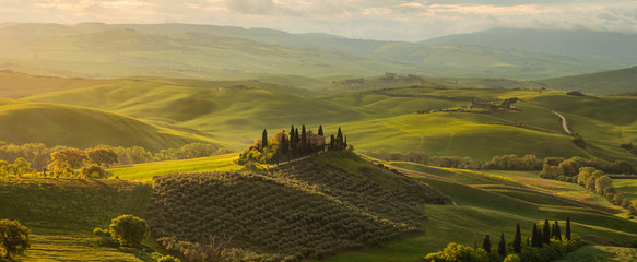 Spring panorama of the most beautiful area in Tuscany, Val d'Orcia Valley