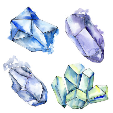 Colorful diamond rock jewelry minerals. Watercolor background set. Isolated crystals illustration element.