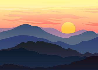 Sunset against the orange sky. Vector illustration on white background.