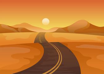 Asphalt road in the middle of the desert. Vector illustration on white background.