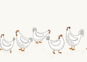 Seamless pattern of hand drawn cute cartoon chicken