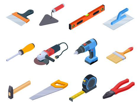 Repair tool isometric. Handyman construction tools paint kit repair home drill craftsman 3d isolated vector set. Illustration of repair tool construction, equipment industry hammer and handsaw