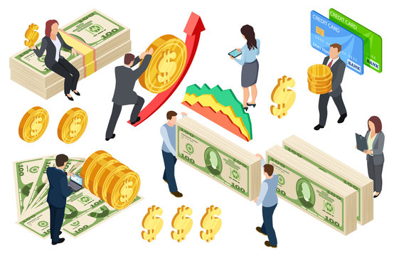 Financial, banking, credits isometric vector concept with coins and money. Illustration of money finance, financial credit isometric cash